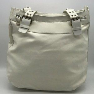 Marc Jacobs Ivory Leather And Canvas Shoulder Bag